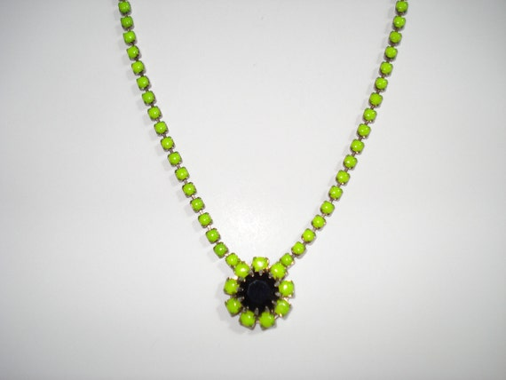 Splash Of Color Neon Yellow / Green and Black Hand Painted Vintage Rhinestone Necklace