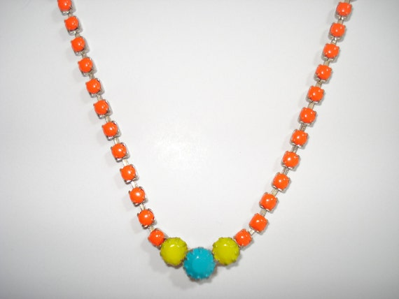 One-Of-A-Kind Neon Orange, Neon Yellow and Neon Turquoise Hand Painted Vintage Rhinestone Necklace