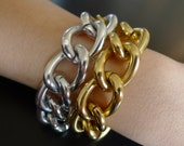 Hera- Gold and Silver gradation chunky chain bracelet