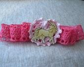 Crochet Lace Ribbon with Vintage Unicorn Pin Barrett
