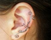 Ear Cuff Whimsical Hematite Wire Spirals, Large