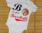 B' is for BASEBALL Baby BODYSUITS, Tees, Infant, Newborn, Toddler, Kids, Baby Shower, Sports, Homerun, Twins, Preemie, Birthday Party Favor