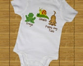 FROGS, SNAILS and PUPPY DoG TaILs Bodysuits, Tees, Infant, Newborn, Preemie, Gift, Present, Animal, Baby Shower, Humor, Funny, Boys