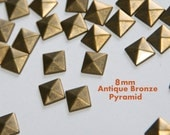 40ct  8mm Bronze Pyramid Studs - Iron On, Hot Fix, or Glue On - for iPhone Case, Sunglasses or Crafts
