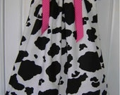 Cow Print with Hot Pink Boutique Pillowcase Dress :PC009