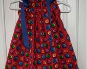 Button on Red Squares Boutique Pillowcase Dress Sizes 5 & 6/7 Only :PC019