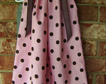 Pink with Brown Dot Pillowcase Dress Sizes 3 Months thru 6/7 :PC001