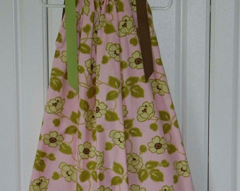 Pink with Lime Green and Brown Floral Boutique Pillowcase Dress size 6/7 only :PC017