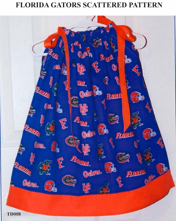 Featuring Florida Gator Scattered Pattern Pillowcase Dress-3 ready to ship :TD008