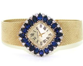 4.0 Carat Vintage Sapphire 14kt Gold Lucien Piccard Bracelet Watch