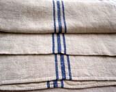 Large Vintage European Grain Sack with Blue Stripe
