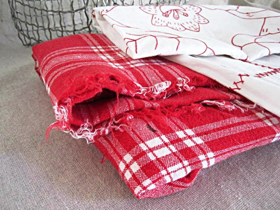 Vintage French Linen Yardage And Redwork For Crafting Projects