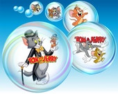 "Tom and Jerry 1"" bottle cap images - 1 inch rounds graphics for scrapbooking, stickers, Digital Printable Bottle Cap Images File"