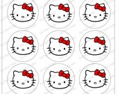 """Hello kitty  Red 1"""" 4x6 bottle cap images - 1 inch rounds graphics for scrapbooking, stickers, Digital Printable Bottle Cap Images File"""