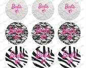 "Barbie pink, black, white 1"" 4x6 bottle cap images - 1 inch rounds graphics stickers, Digital Printable Bottle Cap Images File"