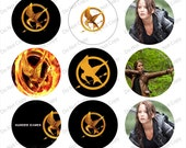 """The Hunger Games 1"""" bottle cap images 4x6""""  - 1 inch rounds graphics stickers, Digital Printable Bottle Cap Images File"""
