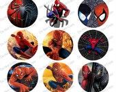"Spiderman 1"" bottle cap images 4x6"" -1 inch rounds graphics for scrapbooking, Digital Printable Bottle Cap Images File"