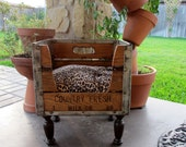 Dog Bed Cat Bed Pet Bed Wooden1969 Milk Crate Recycled Upcycled Antique