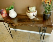 Wooden Table Wood Table Occasional Table Rustic Side Table Hall Table Foyer Table Entryway Table Natural Edge Black Walnut