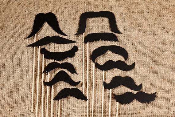 Handcrafted Vintage Mustache Set (Set of 12 mustaches) for Weddings, Parties, and Photo Booths