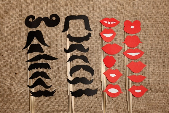 Handcrafted Set of 15 Unique Mustaches on a stick & 12 unique Lips on a stick great for Weddings, Parties, and Photo Booths