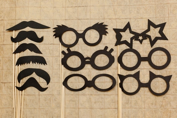 Mustache on a stick & Glasses Set for photo booths,  Weddings, Parties, and Events