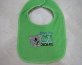 Clearance Embroidered baby bib, Save the Chocolate Planet