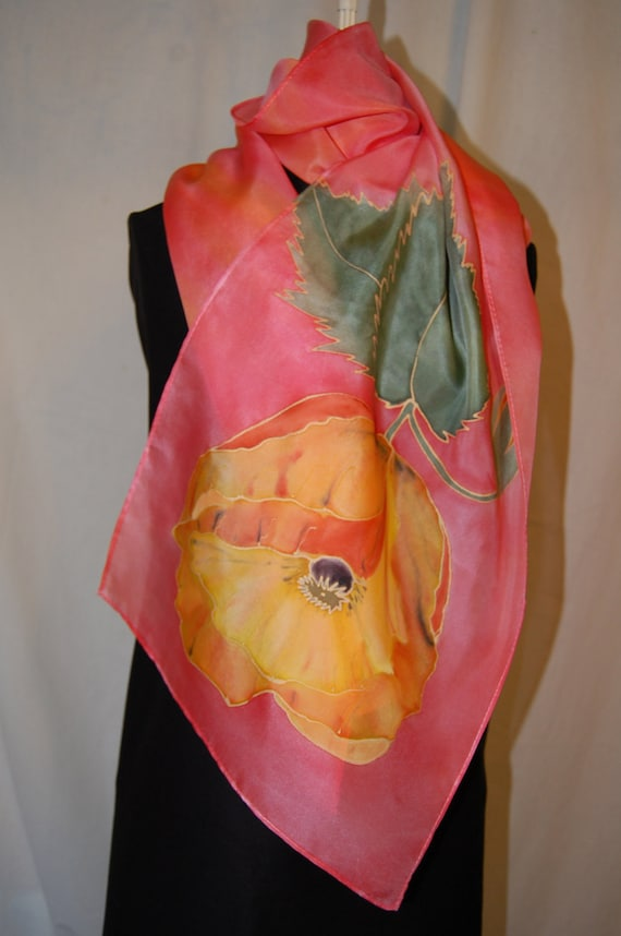 Hand painted scarf.  Silk scarf. Large size. Red, yellow poppy flower with green leaves on  red-orange background.