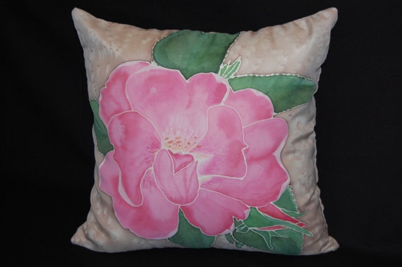 "Hand painted silk sham with a pillow insert.Size is 16""x16"". Knock out rose with green leaves. Zipper closure."