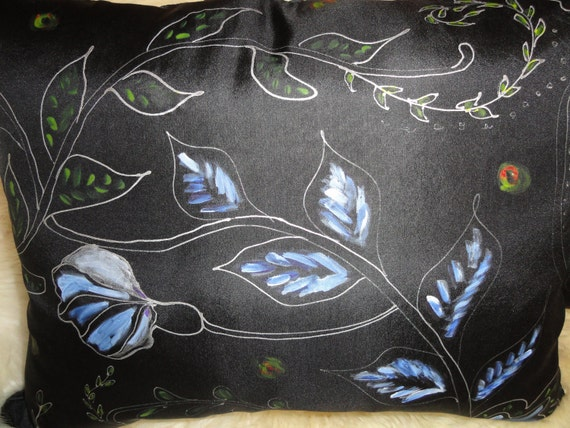"""A pair of Hand painted silk pillows, black , blue, white colors. Abstract flowers. The size is 16""""x20"""".Zipper closure."""