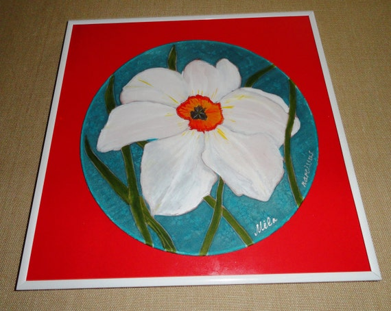 "Hand painted silk. One of kind Narcissus flower. 10"" round habotai silk circle. 12""x12"" size of frame."