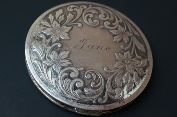 Vintage Sterling Silver Compact  Monogrammed Jane  Really old and neat