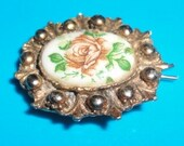 Vintage Porcelain with handpainted flowers barrette very dainty*