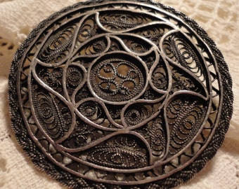 Antique 835 Sterling Silver Filigree very Intricate Brooch*
