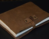 Brown Leather Journal / Notebook, Handtooled, Brown Thick Leather, Refillable