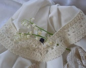 Antique Lace Collar, Lace insert for Dress, Crochet ButterFly