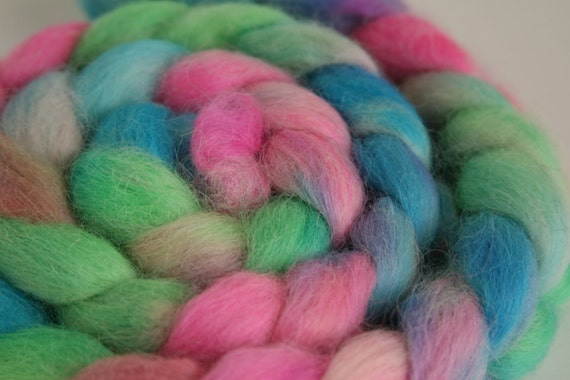 "Handpainted Wensleydale Fiber for Spinning or Felting ""Flip Flops"""