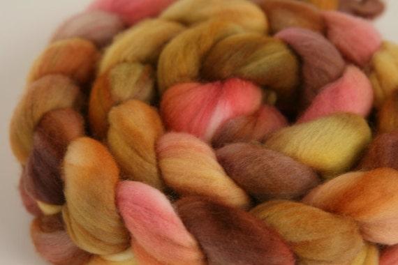 """Handpainted Superfine Merino Fiber for Spinning or Felting """"Apple Harvest"""""""