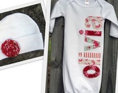 Gift Set -- Hand appliqued newborn gown and cap with fabric rosette
