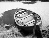Boat on frozen river - digital photo download, fine art print