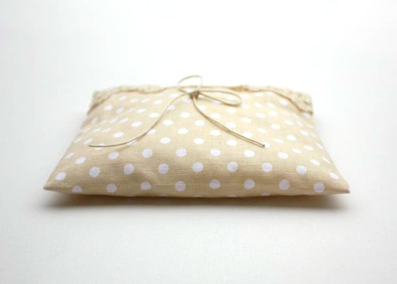 Rustic Wedding Ring Bearer Pillow , Beige, cream, ivory , polka dot , lace whimsical wedding , europeanstreetteam