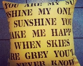 custom throw pillow cover with stenciled quote