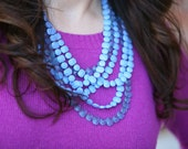 Vintage Blue Triple Strand Necklace