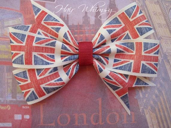 United Kingdom Union Flag Hair Bow
