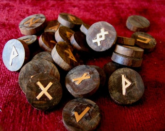 Rune Set, Wooden Runes. African Ebony / Ironwood  runes with copper symbols