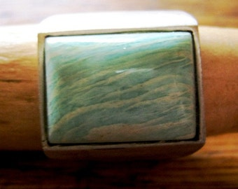 Gorgeous amazonite and silver ring