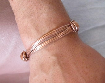 "Elephant  adjustable bangle in copper. Adjustable bangle made from copper "" elephant hairs"""