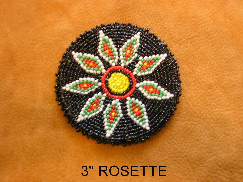 beaded rosette medallion tribal regalia beadwork craft 8c