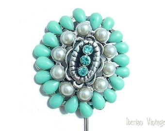 Stick Pin / Hat Pin, Faux Turquoise and Pearl Rhinestone Pin