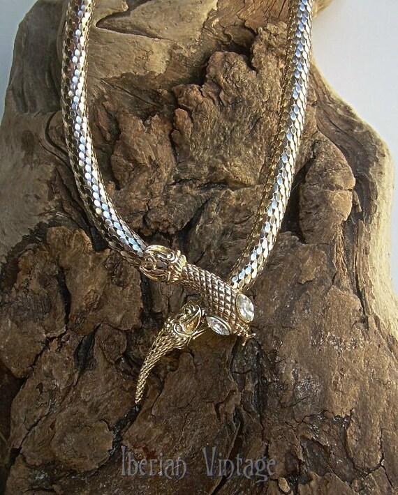 Snake Choker Necklace, 70s, Rhinestone Eyes, Gold Tone